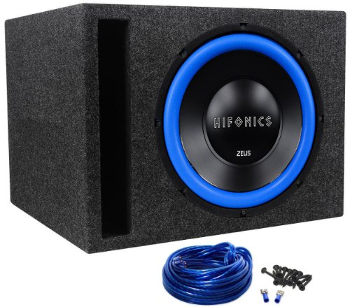 "Package: Hifonics Zw12D4 12"" 4-Ohm 600 Watts Peak/300 Watts Rms Car Audio Subwoofer + Rockville Rsv12 Single 12"" Vented Subwoofer Enclosure + Single Enclosure Wire Kit With 14 Gauge Speaker Wire + Screws + Spade Terminals"