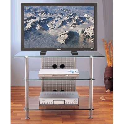 Cheap AGR Series TV Stand w Tempered Glass Shelves (Grey Silver) (AGR37S)
