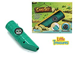 Little Treasures Camp Set For Enthusiastic Preschoolers; A Perfect All In One Camping Gear Including Thermometer, Flashlight, Direction Guide And A Whistle With A Power Button, Battery Operated