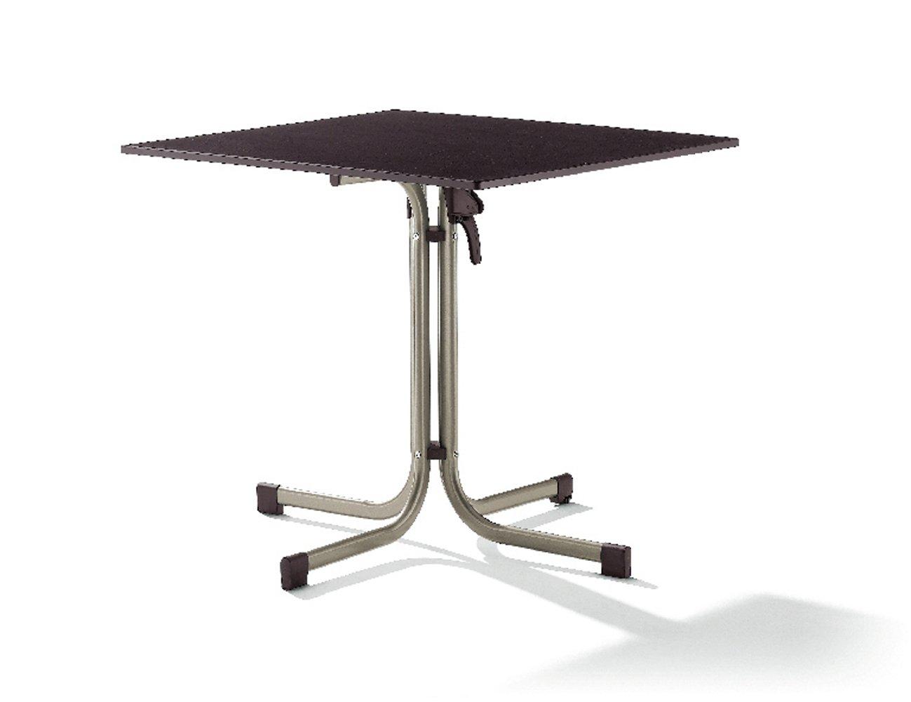 Sieger 1330-60 Gastro-Tisch mit Puroplan-Platte 80 x 80 cm, Stahlrohrgestell champagner, Tischplatte Schieferdekor mocca