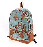 (ミネセンム)Minesam レディース 女性 鞄 リュックサック 花柄 バックパック レトロ 通学 可愛い 彼女にいいプレゼント 通勤 高校生 ( ブルー )