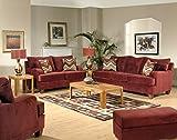 Full Set of Living Room Collection (1 x Sofa, 1 x Loveseat, 1 x Cuddler Chair, 1 x Storage Ottoman) - Bella Burgundy Belly / Easy Street Salsa
