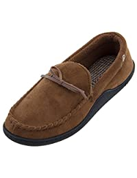 Isotoner Men's Black Moccasin Slippers