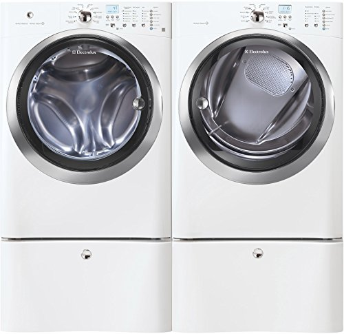 "Electrolux IQ-Touch White Front Load Laundry Pair with EIFLS55IIW 27"" Washer, EIMGD55IIW 27"" Gas Dryer and 2 EPWD15IW Pedestals in White"