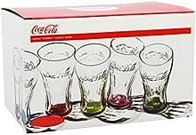 Comprar Coca Cola 1613100 - Lote de 6 vasos, fondo de colores transparentes