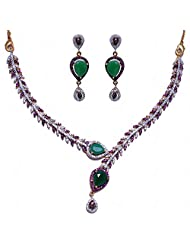 Green Onyx & Pink Tourmaline Stone Studded Necklace & Earrings Set