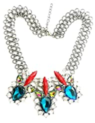 BID4DESRIE MULTICOLOR CRYSTALS IN LOCK CHAIN NECKLACE FOR WOMEN