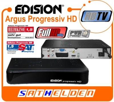 Edision progressivamente compatto HD Ricevitore digitale satellitare DVB - S2 HDTV ( HDMI , 1x SCART , USB 2.0 , PVR -ready e Time- Shift) NEW nero