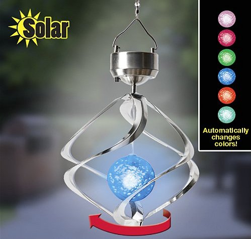 Toprate(Tm) New Solar Spinning Orb- Indoor/Outdoor Use- Automatically Changes Colors