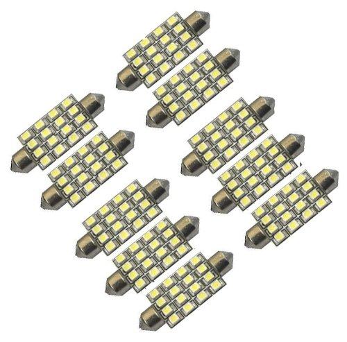 """Cutequeen 10Pcs White 42Mm(1.72"""") 16-Smd 12V Festoon Dome Light Led Bulbs 211-2 212-2 569 578 - White (Pack Of 10)"""