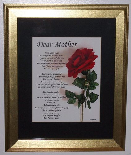 "Moving 8x10 Original ""Dear Mother"" Poem, in 14x17 Gold Frame, Matted in Black."