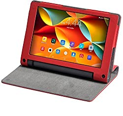 Best Deals - Premium Quality PU Leather Lenovo Yoga Tab3 8 inches Flip Cover +Free Stylus Pen - Red