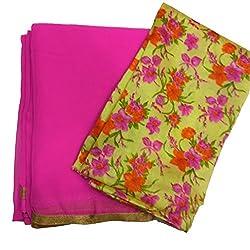 Navanya Couture Pink Summer Chiffon Sarees With Gold Lace Border & Bhagalpuri Blouse