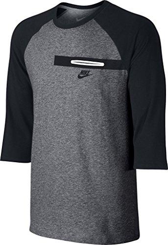 Nike mens TEE- BEMIS POCKET 3/4 RLN 805229-091_S - CARBON HEATHER/BLACK/BLACK