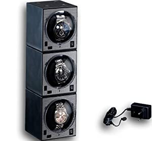 Beco Boxy Carbon Watch Winder Professional for 3 Automatic Watches
