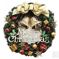 人気爆発モデル! クリスマス 飾り リース 装飾 オーナメント 赤系・ゴールド系 32cm (ゴールド系)