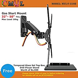 MYL Imported 6 Way Swivel Tilt 360 Degree Rotate Gas Strut Flexi Mount for LED LCD TV / Montiors 32