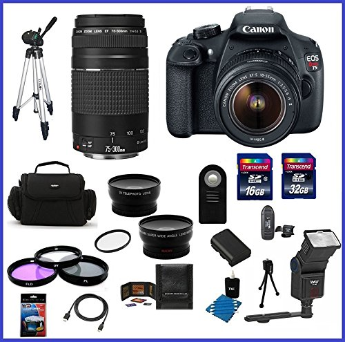 Canon EOS Rebel T5 18MP Digital SLR Camera USA warranty with Canon EF-S 18-55mm f/3.5-5.6 IS II Lens & EF 75-300mm f/4-5.6 III Telephoto Zoom Lens + High Quality 2.2X Telephoto & .43X Wide Angle Lenses + Auto Power Flash + 48GB Accessory Bundle Kit