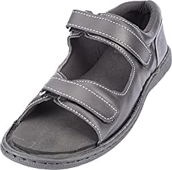 Health Plus Womens Black Leather Diabetic Care Outdoor Sandals- 9 UK