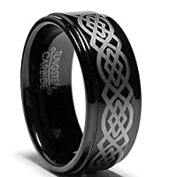 9MM Black Tungsten Ring with Laser Etched Celtic Design Size 8
