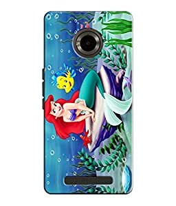 EU4IA Mermaid And Nemo Pattern MATTE FINISH 3D Back Cover Case For MICROMAX Y...