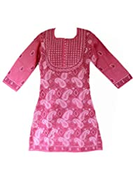 All About Pinks' Pure Cotton Chikan Kurti In Pink Colour In Medium (Size 40)
