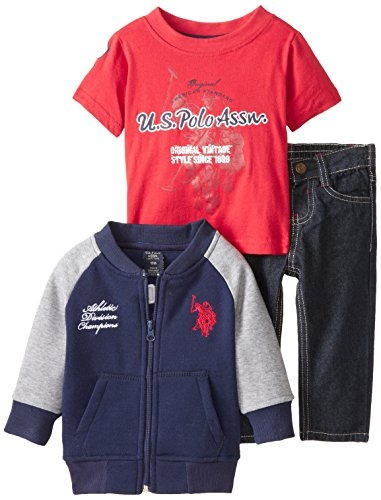 U.S. Polo Assn. Baby-Boys Infant Fleece Jacket Graphic T-Shirt With Denim Jean, Engine Red, 24 Months