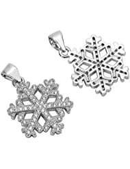 1pc Top Quality Silver Snowflake Charm/Pendant With Cubic Zirconia Pave # MCAC21