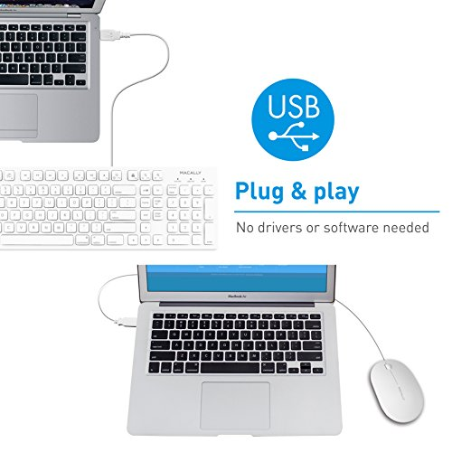 Macally 103 Key USB Wired Keyboard with Apple Shortcut Keys and 3