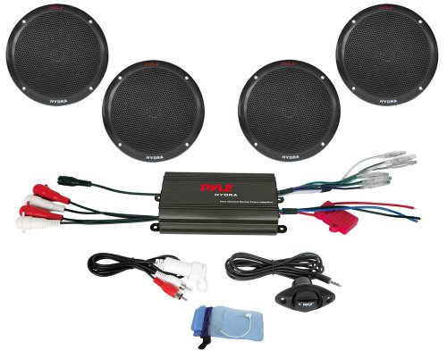 Cheapest Prices! Pyle PLMRKT4B 4 Channel 800 Watt Waterproof Micro Marine Amplifier and 6.5-Inch Spe...