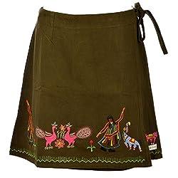 Beautiful Clothes Green Party Skirt Velvet Skirt For Women (BCA2063)