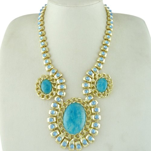 Vintage antique retro art deco inspired statement jewellery gold plated turquoise blue necklace. 18' with 3' extender chain