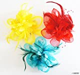 No.10 Millinery Triple Layer Net, Feather, Beads Headdress Accessories w/Metal Clip - Set of 3, Assorted