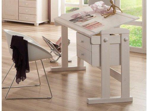 Kinderschreibtisch Schreibtisch Bürotisch höhenverstellbar Kiefer massiv, Farbe:Weiß kaufen