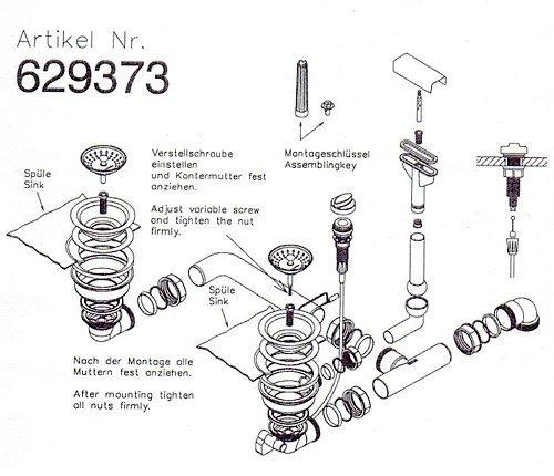 Ab- und Überlaufgarnitur für die Schock Spüle PRIMUS D-150, PRIMUS D-200, SIGNUS D-150, SIGNUS D-200, HORIZONT D-150, HORIZONT D-200 u.a. / inkl. Bowdenzug / Ablaufgarnitur