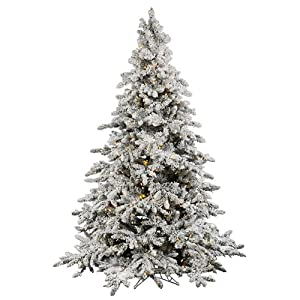 4.5' Pre-Lit Flocked Utica Full Artificial Christmas Tree - Clear LED Lights