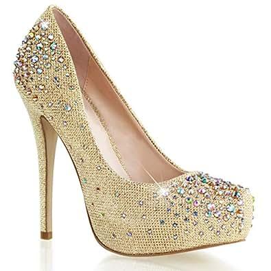 Amazon.com: Womens Stunning Gold Glitter Pumps 6'' High