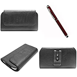 DMG Durable Cell Phone Pouch Carrying Case with Belt Clip Holster for samsung galaxy star pro 7262 (Black) + 4in1 Laser Torch Stylus Pen