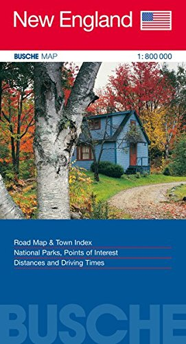 New England 1 : 800 000. Straßenkarte: Road Map & Town Index. National Parks, Points of Interest. Distances and Driving Times