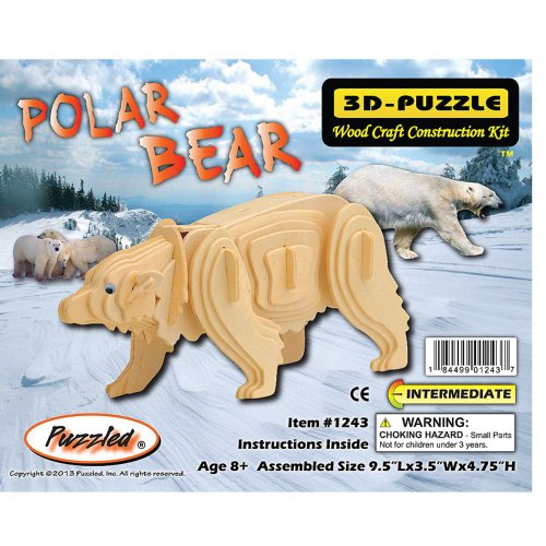 Puzzled Item #DPUZ1243 Polar Bear Affordable Gift for Your Little One! 3D Wooden Puzzle