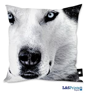 "HUSKY DOG FACE DESIGN CUSHION 18"" X 18"" IDEAL GIFT NOVELTY MADE IN YORKSHIRE"
