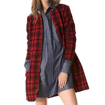 Amazon.com: Red Black Checks Plaid Long Sleeves Women Zipper Coat