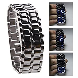 Soleasy Black Metal Strip Digital Lava Style Iron Sport Men Blue LED Faceless Wrist Watch WTH0310