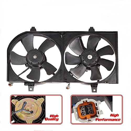 Partsam Ac Condenser Radiator Dual Cooling Fan For 2002-2004 Infiniti I35 #21481-6M100