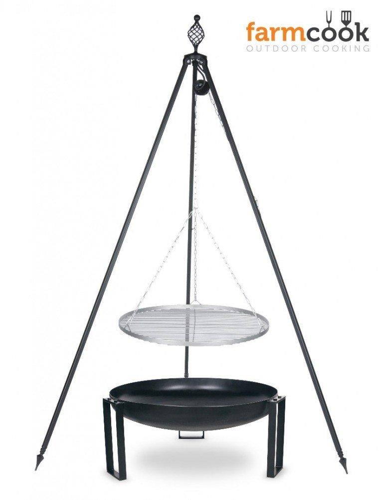 Dreibein Grill OSKAR Höhe 210cm + Grillrost aus Edelstahl Durchmesser 60cm + Feuerschale Pan36 Durchmesser 70cm günstig