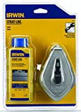IRWIN Tools STRAIT-LINE 64499 Aluminum Refillable Chalk Line Reel with 4-Ounce Chalk, 100-foot, Blue (64499)