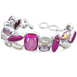 925 Sterling Silver Titanium Druzy Purple Turquoise Amethyst Freshwater Pearl Natural Gemstone Designer Fashion Link Bracelet Size Drop Lain-6, Ext. Chain-3 Inch Jewelry