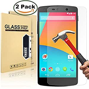 [2 Pack] Google Nexus 5 Screen Protector, MaxTeck 0.26mm 9H Tempered Shatterproof Glass Screen Protector Anti-Shatter Film for Google Nexus 5, 100% Touch Accurate - Lifetime Warranty