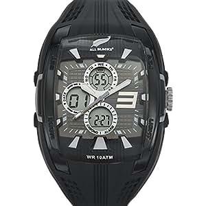 All Blacks - 680048 - Montre Homme - Quartz Analogique - Digital - Cadran Noir - Bracelet Silicone Noir