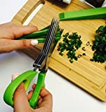 Vegetables Cooks Scissors Stainless Steel 5 Blades Green Cleaning Comb And Shears Cover For Herbs Or Shredding
